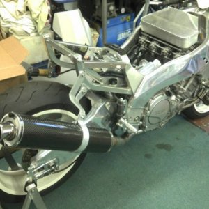 YZF750 With Kit Exhaust Fitted
